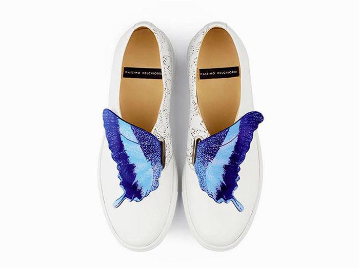 sneakers bianca con farfalla Massimo Melchiorri